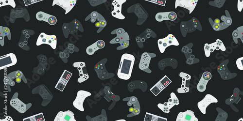 Video game controller gamepad background Gadgets seamless pattern Fototapeta