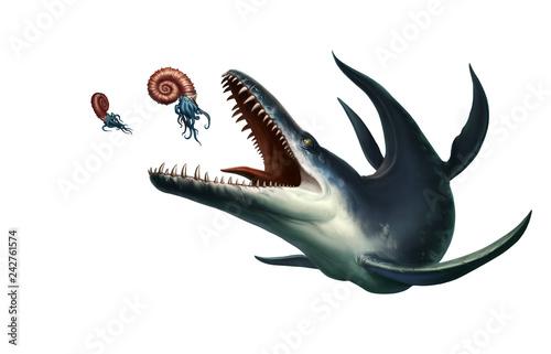 Obraz na plátně Kronosaurus was a marine reptile hunts ammonite