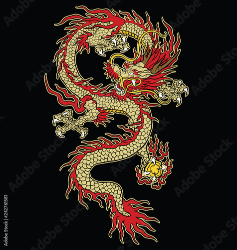 Fotografie, Tablou  Asian tattoo dragon vector design in color.