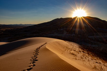 Sand Dune Sunset Footprints