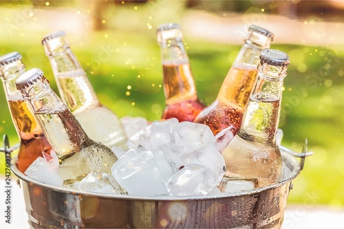 Fotografia Bottles of cold and fresh beer with ice isolated