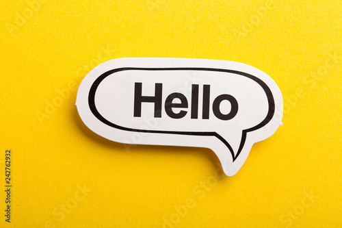 Obraz na plátne Hello Speech Bubble Isolated On Yellow Background