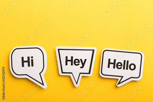 Fototapeta Hello Speech Bubble Isolated On Yellow Background
