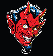 Rockabilly Devil Tattoo Vector...