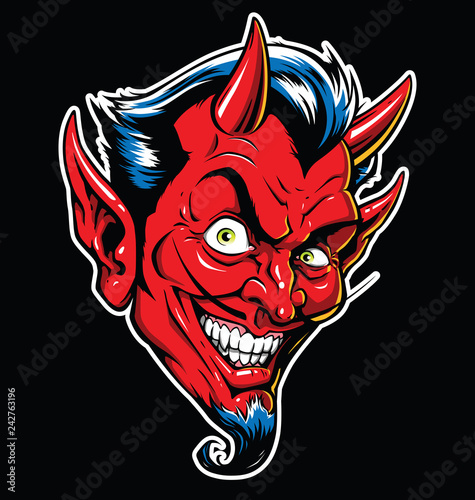 Fotografiet Rockabilly Devil tattoo vector illustration in full color