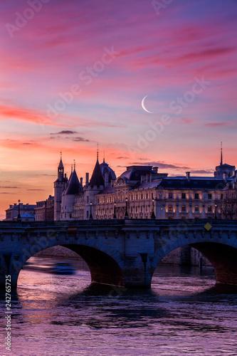 Sunrise over Paris bridge and the palace of Conciergerie, France Wallpaper Mural