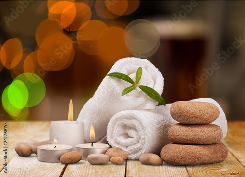 Keuken foto achterwand Spa Spa concept with zen basalt stones and towels