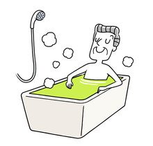 お風呂でリラックスするシニア男性