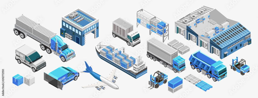 Fototapeta Set of assorted freight transport and storage facilities of blue color