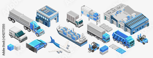 Set of assorted freight transport and storage facilities of blue color Fototapeta