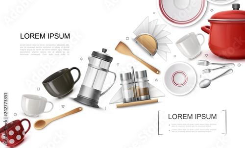 Fotografia, Obraz Realistic Kitchenware Elements Set