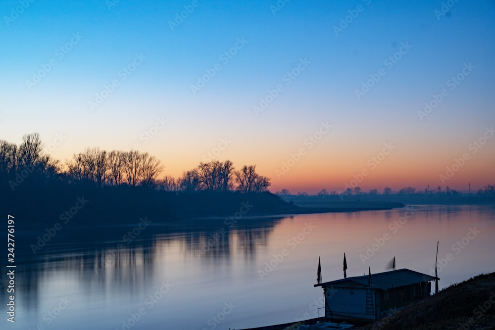 Sunset on the Po river - Cremona, Italy