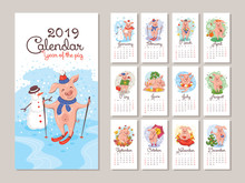 2019 Year Calendar With Cartoon Stylized Pigs
