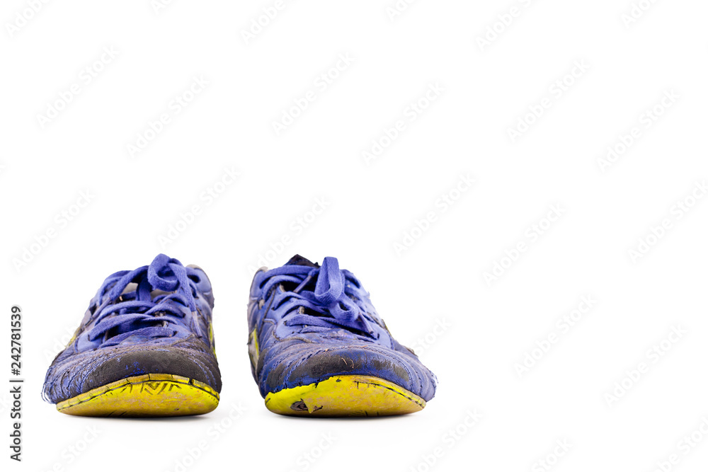 453d67e9f0d Photo   Art Print old football shoes damaged on white background futsal  sportware object isolated