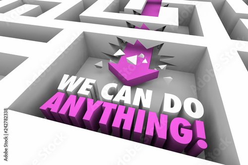 Photo  We Can Do Anything Succeed Maze Arrow Words 3d Illustration