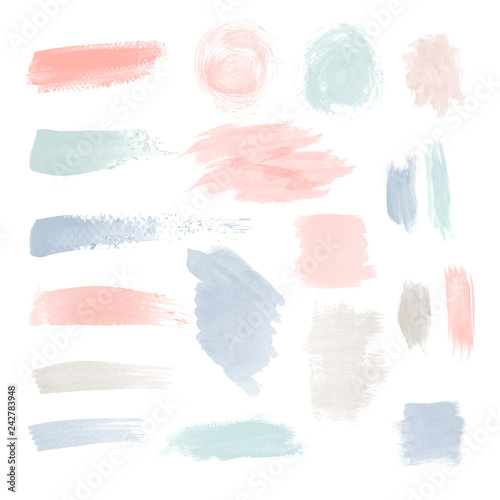Colorful brushstroke design vector set Canvas Print