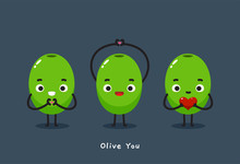 """Three Olive With Text """"Olive You"""""""