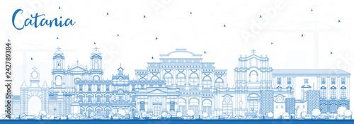 Fotografia Outline Catania Italy City Skyline with Blue Buildings.