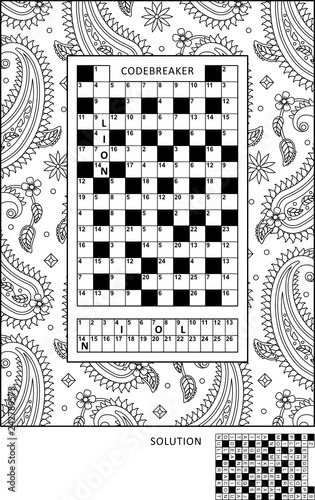 photo regarding Codeword Puzzles Printable known as Puzzle and coloring recreation website page for developed-ups with