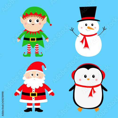 b69e99f5fbcf7 Santa Claus Elf Snowman Penguin set. Happy New Year. Merry Christmas. Red  green black hat. Cute cartoon funny kawaii baby character. Greeting card.