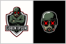 Soldiers With Gas Mask Cartoon Vector For E-Sport Logo Template
