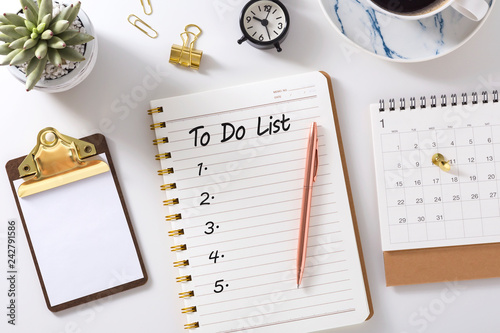 Fototapeta To do list in notebook with calendar and clipboard obraz