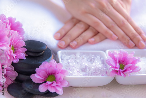 Fotografie, Obraz  Spa treatment and product for female feet and manicure nails spa with rock and p