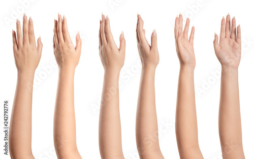 Foto Set of woman hands isolated on white background