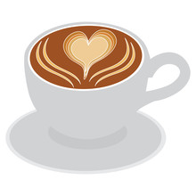 Vector Illustration Of Latte With Heart Latte Art