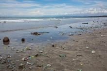 Trash On The Beach In Bali Island