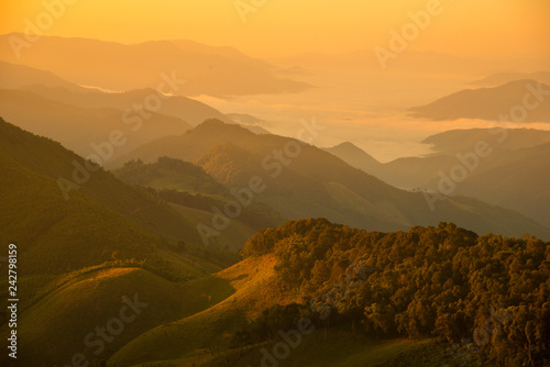 Fototapeta Mountain valley during sunrise. Natural summer landscape obraz na płótnie
