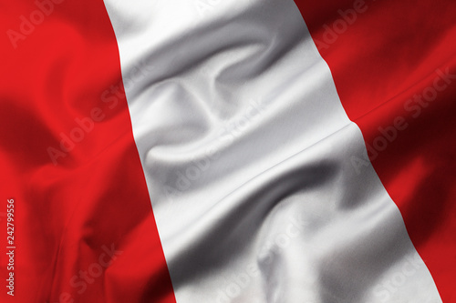 Amérique du Sud Satin texture of curved flag of Peru