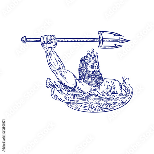 Valokuvatapetti Drawing sketch style illustration of Triton, a Greek god, the messenger of the sea, son of Poseidon and Amphitrite, wielding trident on sea with waves on isolated white background