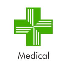 Logotipo Abstracto Con Texto Medical Con Cruz Dividida En Color Verde
