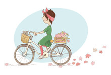 Girl On A Bicycle. Vector Illu...