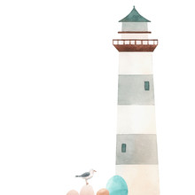 Watercolor Lighthouse Illustra...