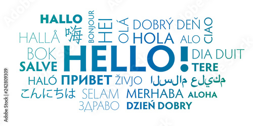 Obraz na plátne Hello in different languages