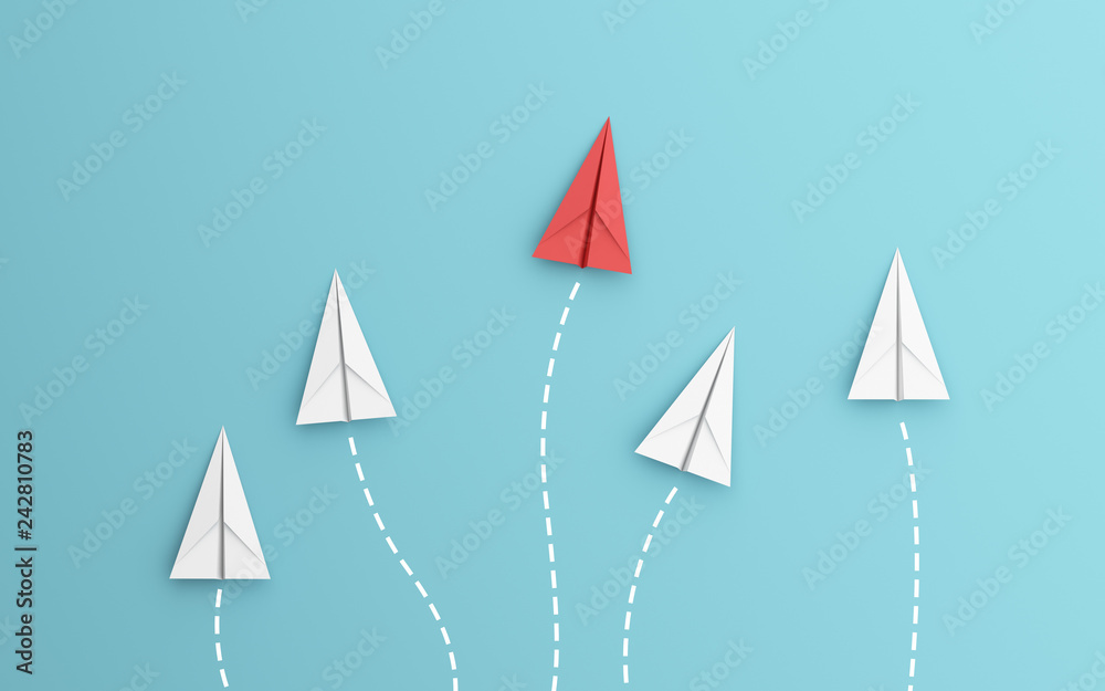Fototapeta leadership or different concept with red and white paper airplane path and route line on blue background. Digital craft in education or travel concept. Mock up design. 3d abstract illustration