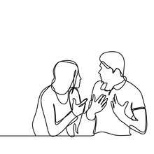 Continuous Line Drawing Of Couple In Conflict. Man And Women Talking Each Other With Angry Gesture Vector Illustration Isolated On White Background.
