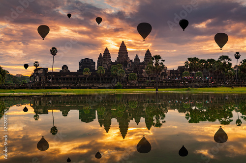 Sunrise on Angkor Wat Temple in Cambodia. Canvas Print