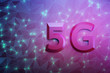 canvas print picture - Big 5G letters on the flat surface with triangular pattern. 5G telecommunication technology concept. 3d illustration.