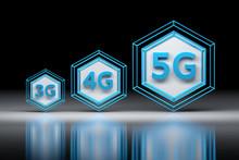 Hexagons And 3G, 4G, 5G Letters. Evolution Of Cellular Mobile Communication Networks. 3D Illustration.