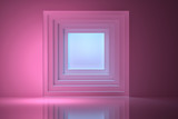 Fototapeta Do przedpokoju - Abstract background with a pink tunnel in the wall with blue light. 3d illustration.