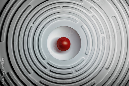 Obraz Abstract background with circular shapes and red sphere in the center. 3d illustration. - fototapety do salonu