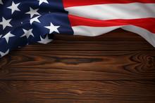 American Flag On Dark Wooden Board