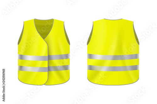 Fotomural Realistic reflective vest, front and back view, safety jacket on plain backgroun