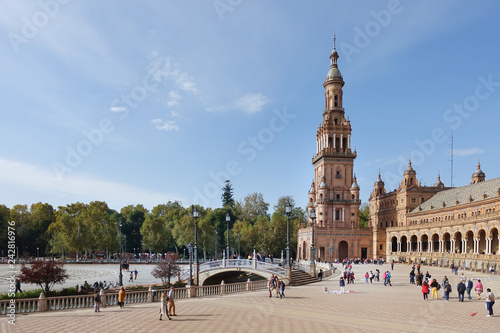 Poster Madrid SEVILLA, SPAIN - January 13, 2018: The Spain Square is a plaza in the Parque de Maria Luisa in Seville