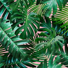 Panel Szklany Podświetlane Do pokoju Tropical leaves on pink background