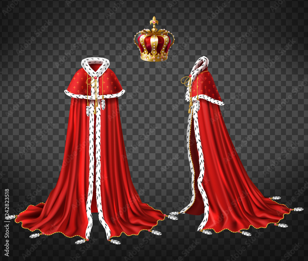 Fototapeta Kings royal robe with cape and mantle trimmed ermine fur and precious, gold crown decorated perls 3d realistic vector front, side view illustration isolated on transparent background. Monarch clothing