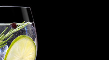 Close Up Of Gin Tonic Glass On...